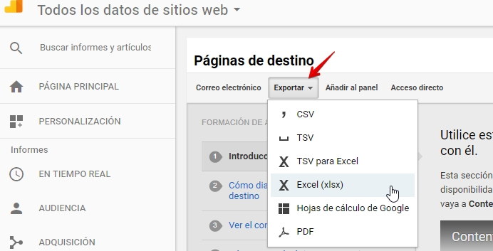 exportar-urls-destino-analytics